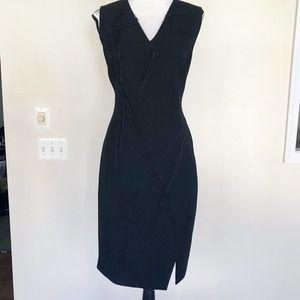 Elie Tahari Black Sleeveless Chain Raw Hem Dress 8